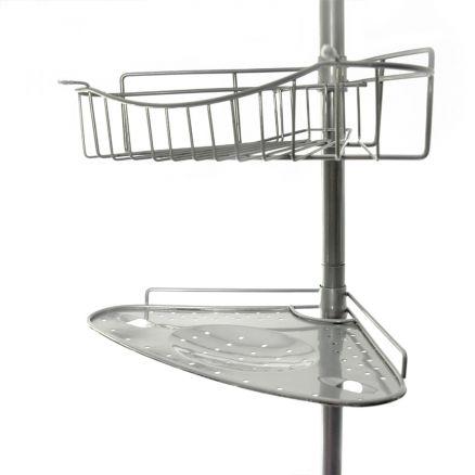 badregal teleskop eckregal duschablage teleskopregal regal 1 32 2 47m duschregal ebay. Black Bedroom Furniture Sets. Home Design Ideas