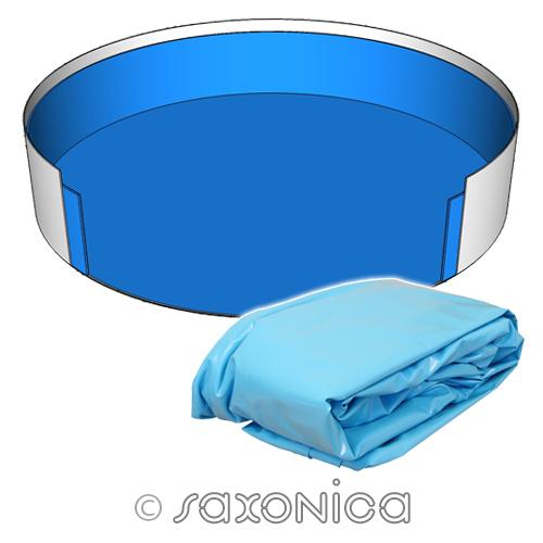 Poolfolie innenh lle rund pool 600 x 150 cm 0 8 mm blau for Poolfolien rundbecken