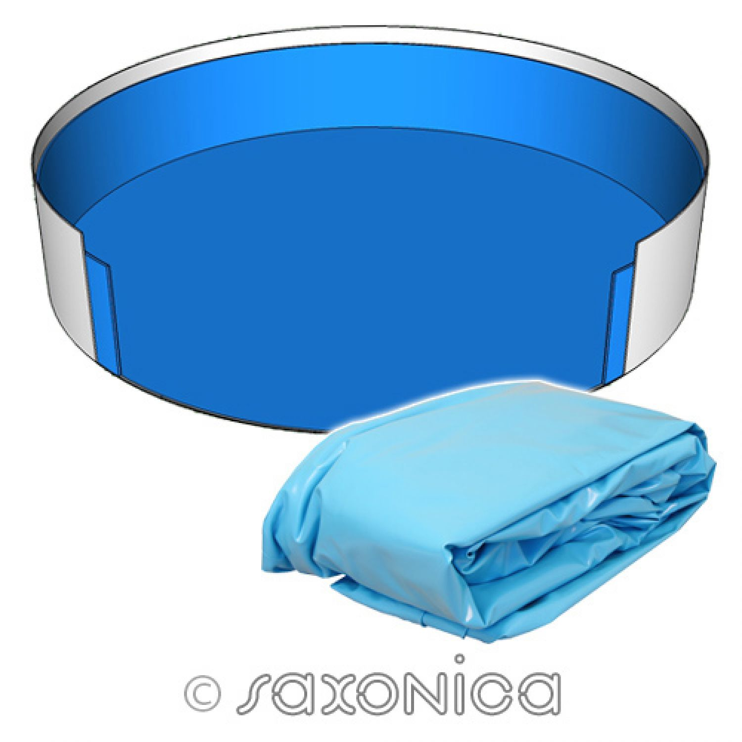 Poolfolie innenh lle rundpool 300 x 120 cm 0 6 mm blau for Poolfolie blau