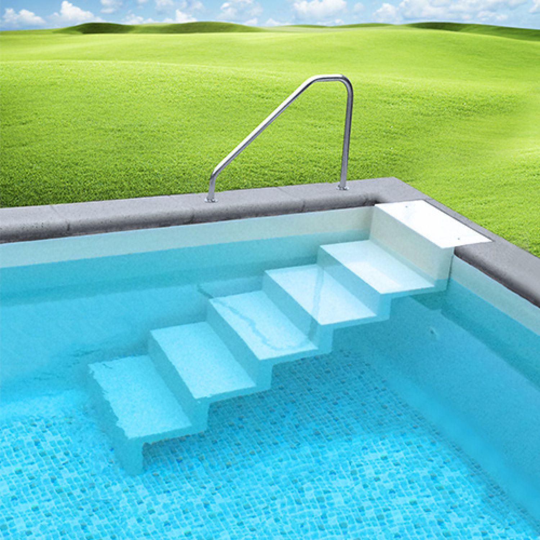 pool treppe leiter eleganz 60 5 stufig zur wandbefestigung wei ebay. Black Bedroom Furniture Sets. Home Design Ideas