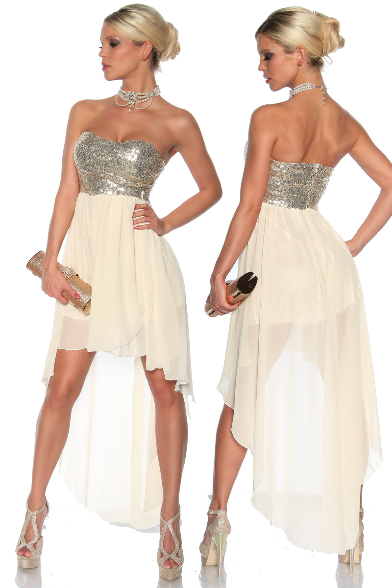 Abendkleid Pailletten S/M creme silber Kleid Sexy Party Club Fest ...