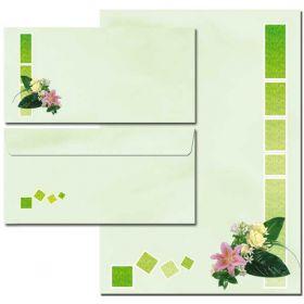 40-tlg. Motiv-Briefpapier-Set BLUMENGRÜSSE 20 Blatt & 20 Briefumschläge
