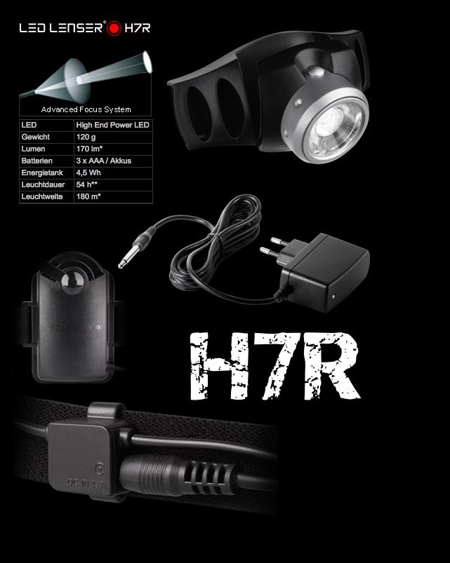 led lenser h7r kopflampe taschenlampe h7 r inkl akkus tasche ebay. Black Bedroom Furniture Sets. Home Design Ideas