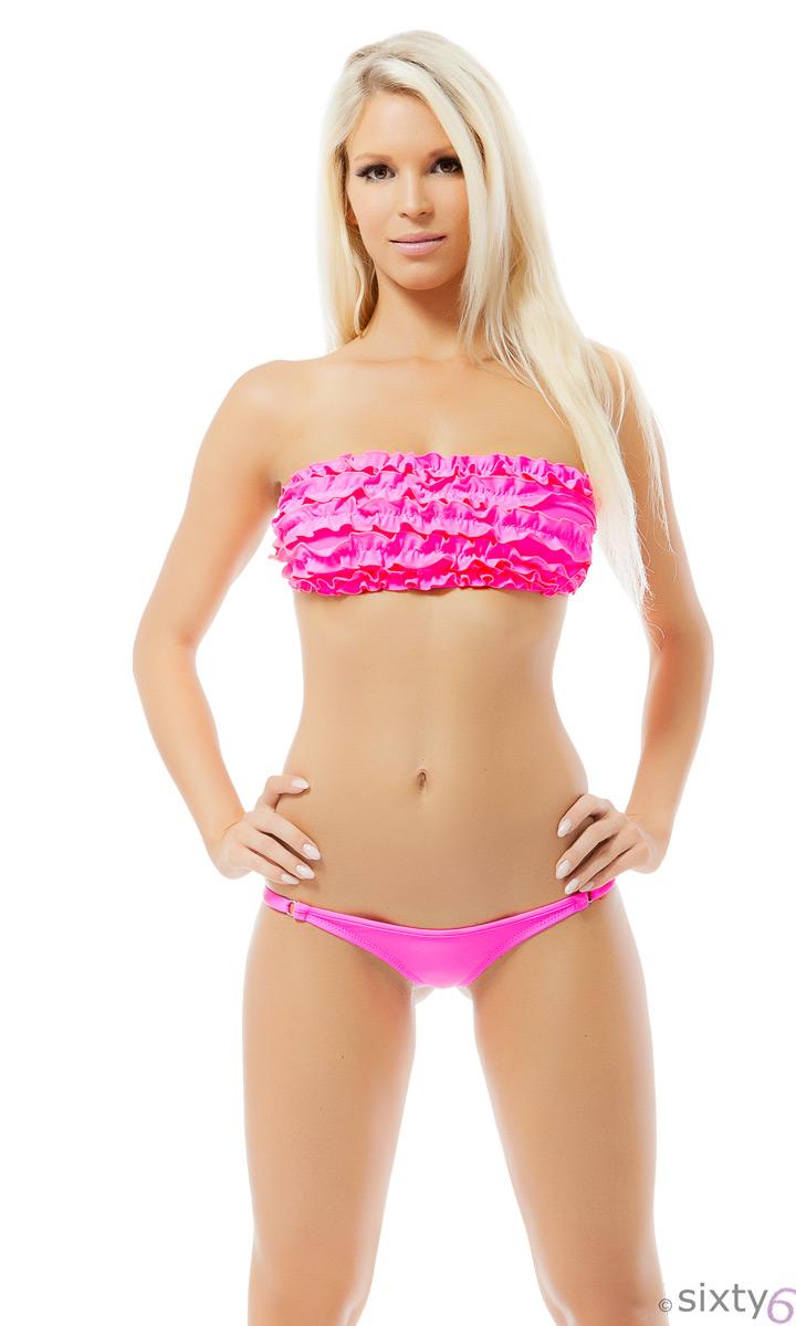 r schen bikini mit mini string neonpink sexy beach wear xs. Black Bedroom Furniture Sets. Home Design Ideas