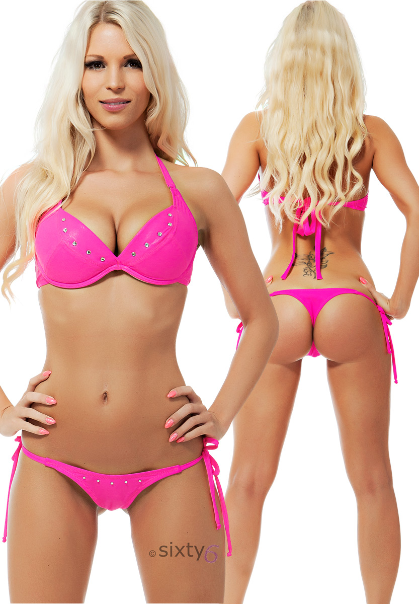 sexy mega push up bikini handmade in eu neon tanga