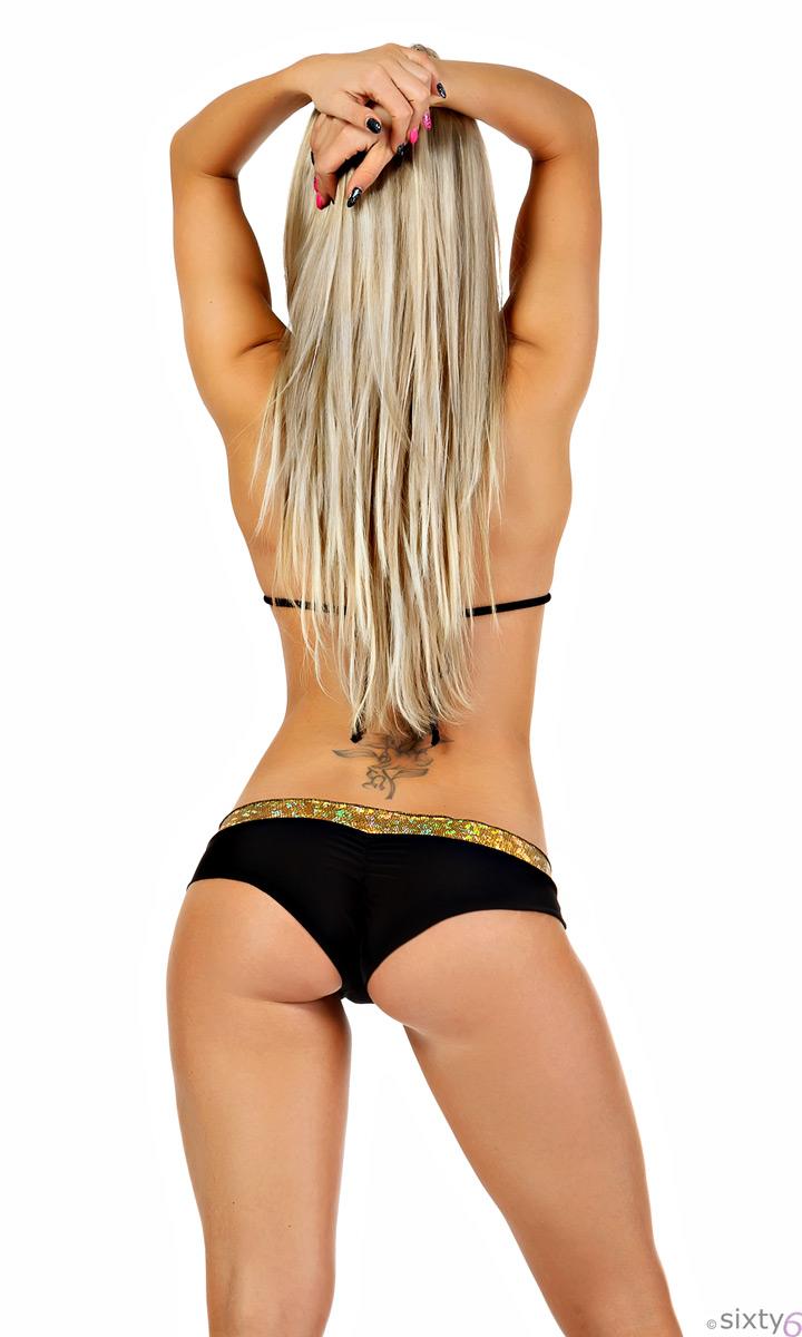 bikini set gold schwarz neckholder und string tanga. Black Bedroom Furniture Sets. Home Design Ideas