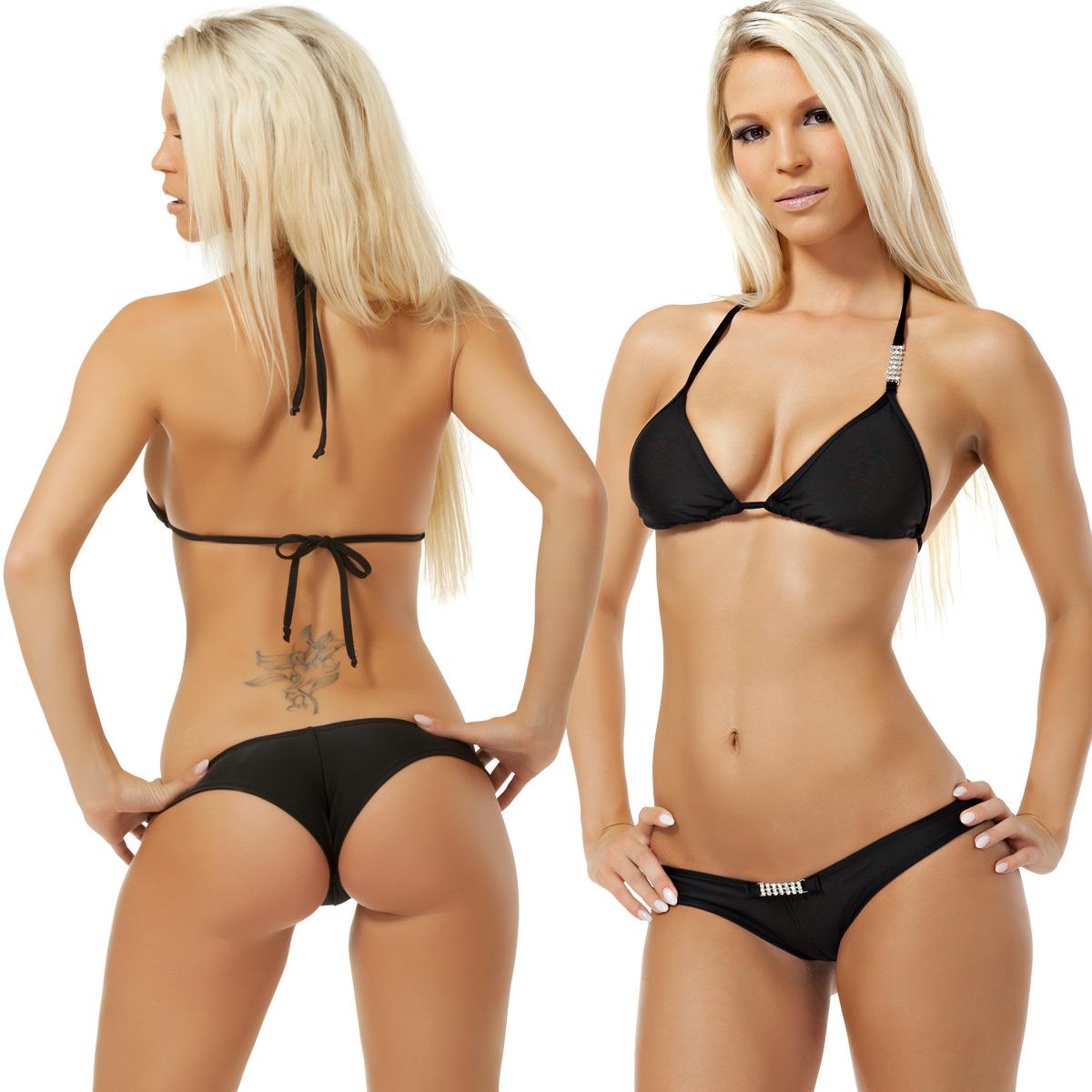 sexy bikini mit hotpant und strass kette neckholder made. Black Bedroom Furniture Sets. Home Design Ideas