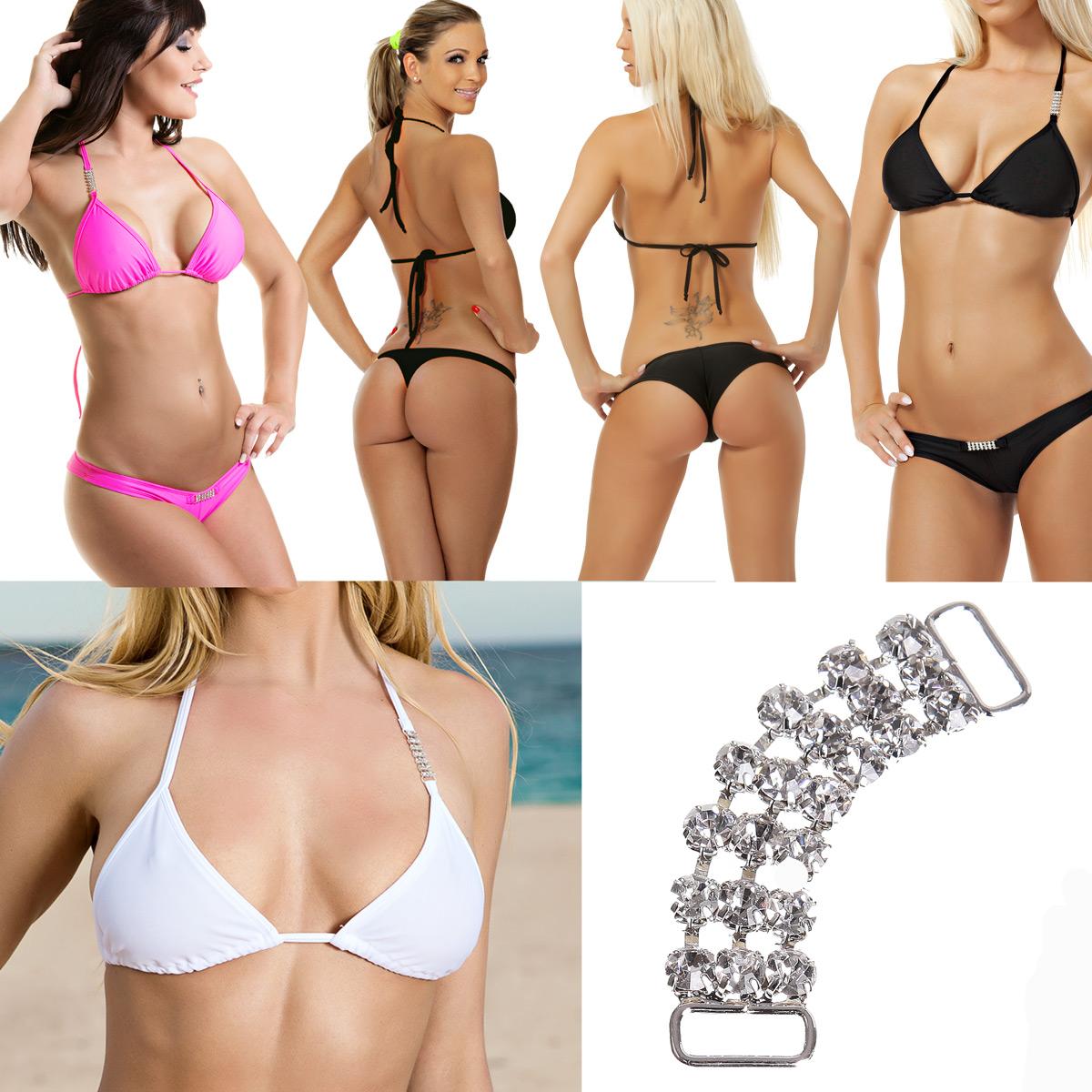sexy bikini mit strass schwarz weiss pink xs s m l. Black Bedroom Furniture Sets. Home Design Ideas
