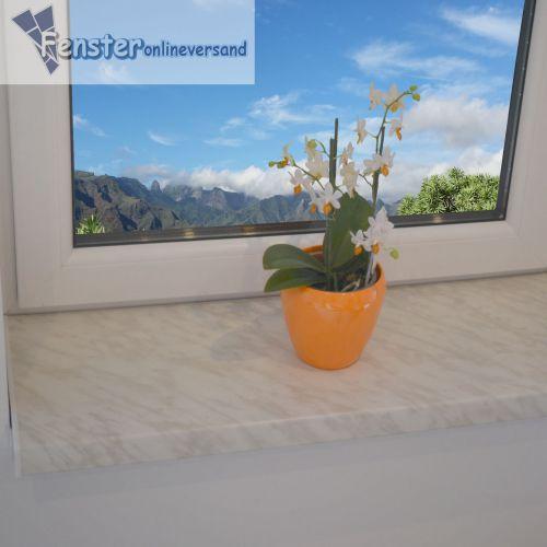 FENSTERBANK INNENFENSTERBANK Fensterbrett Kunststoff PVC weiß/marmor ...