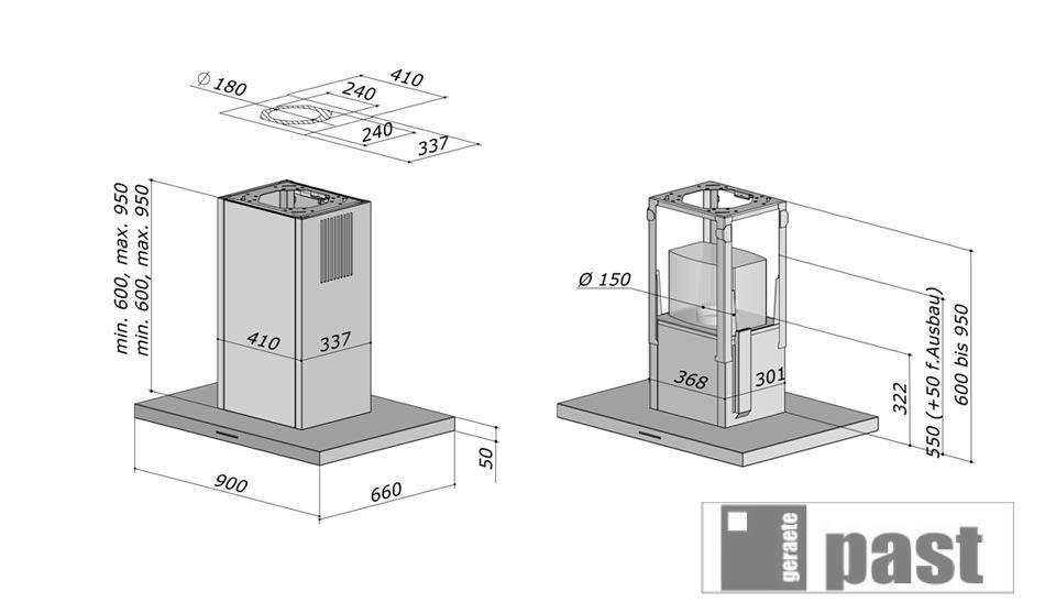berbel isola cappa smartline bih 90 st 1004944 ebay. Black Bedroom Furniture Sets. Home Design Ideas