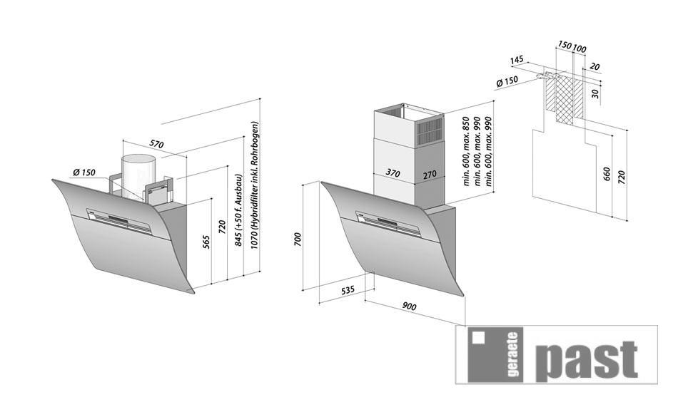 berbel kopffreihaube glassline bkh 90 gl ebay. Black Bedroom Furniture Sets. Home Design Ideas