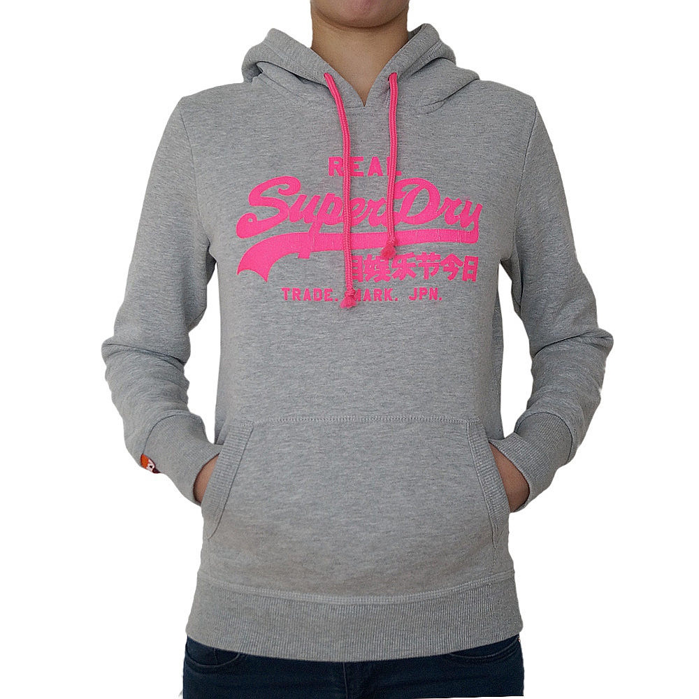 superdry damen kapuzenpullover black label sweatshirt hoodie grau pink real ebay. Black Bedroom Furniture Sets. Home Design Ideas