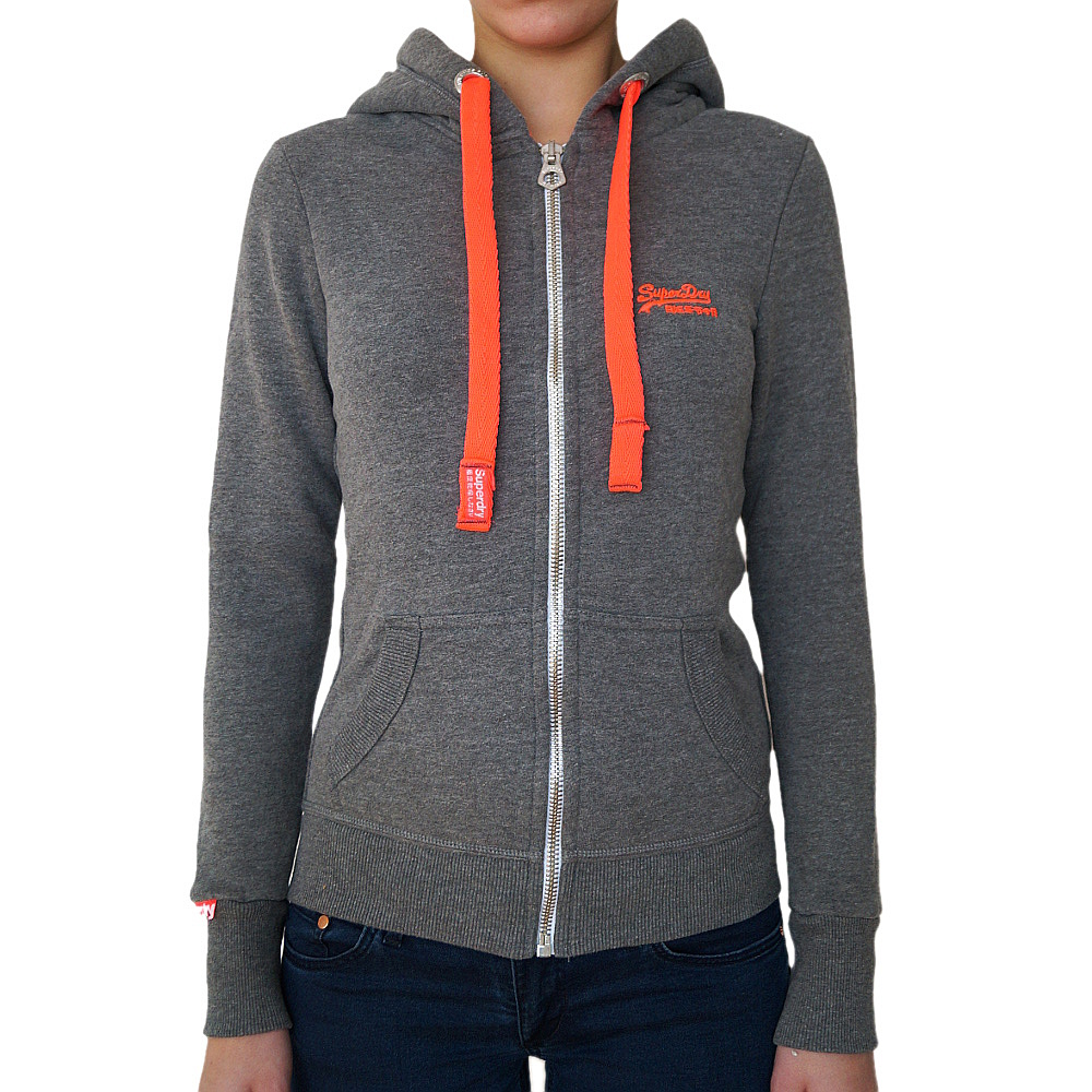 superdry damen zip kapuzenpullover black label sweatjacke hoodie grau rot ebay. Black Bedroom Furniture Sets. Home Design Ideas