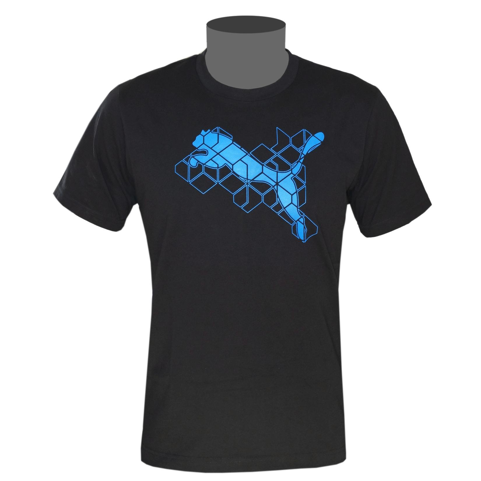 puma herren t shirt schwarz blau pure graphic cat ss tee logo ebay. Black Bedroom Furniture Sets. Home Design Ideas