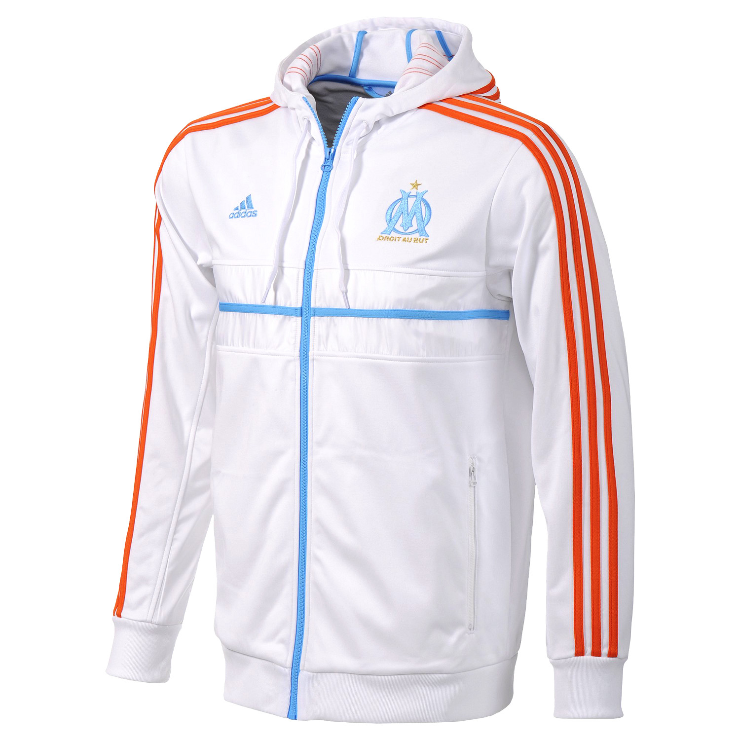 adidas olympique marseille anthem sport jacke sweatjacke kapuze pullover wei ebay. Black Bedroom Furniture Sets. Home Design Ideas