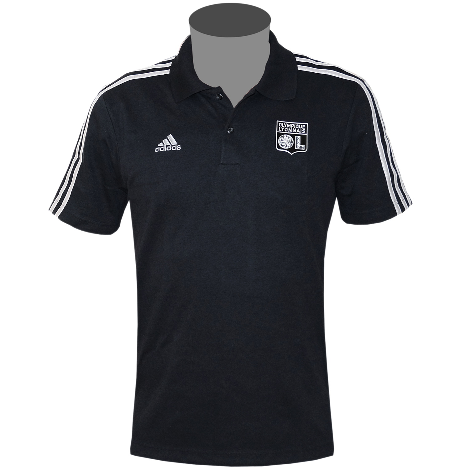 adidas olympique lyon herren poloshirt schwarz polo shirt. Black Bedroom Furniture Sets. Home Design Ideas