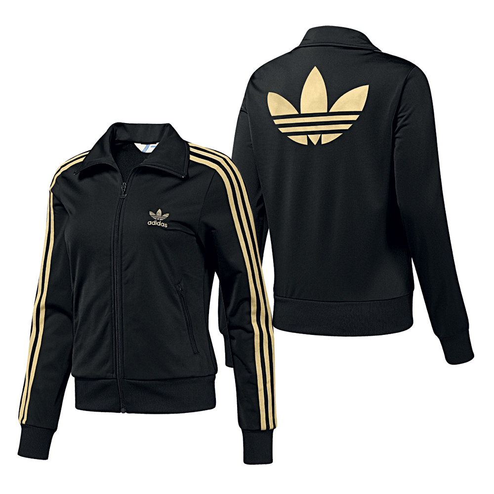zu adidas originals firebird damen tracktop sport jacke schwarz gold. Black Bedroom Furniture Sets. Home Design Ideas