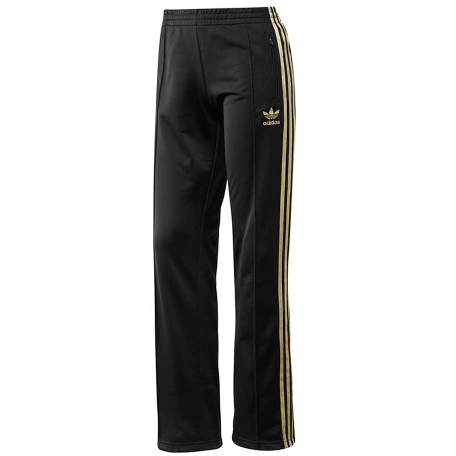 adidas originals firebird hose pant damen trainingshose schwarz gold ebay. Black Bedroom Furniture Sets. Home Design Ideas