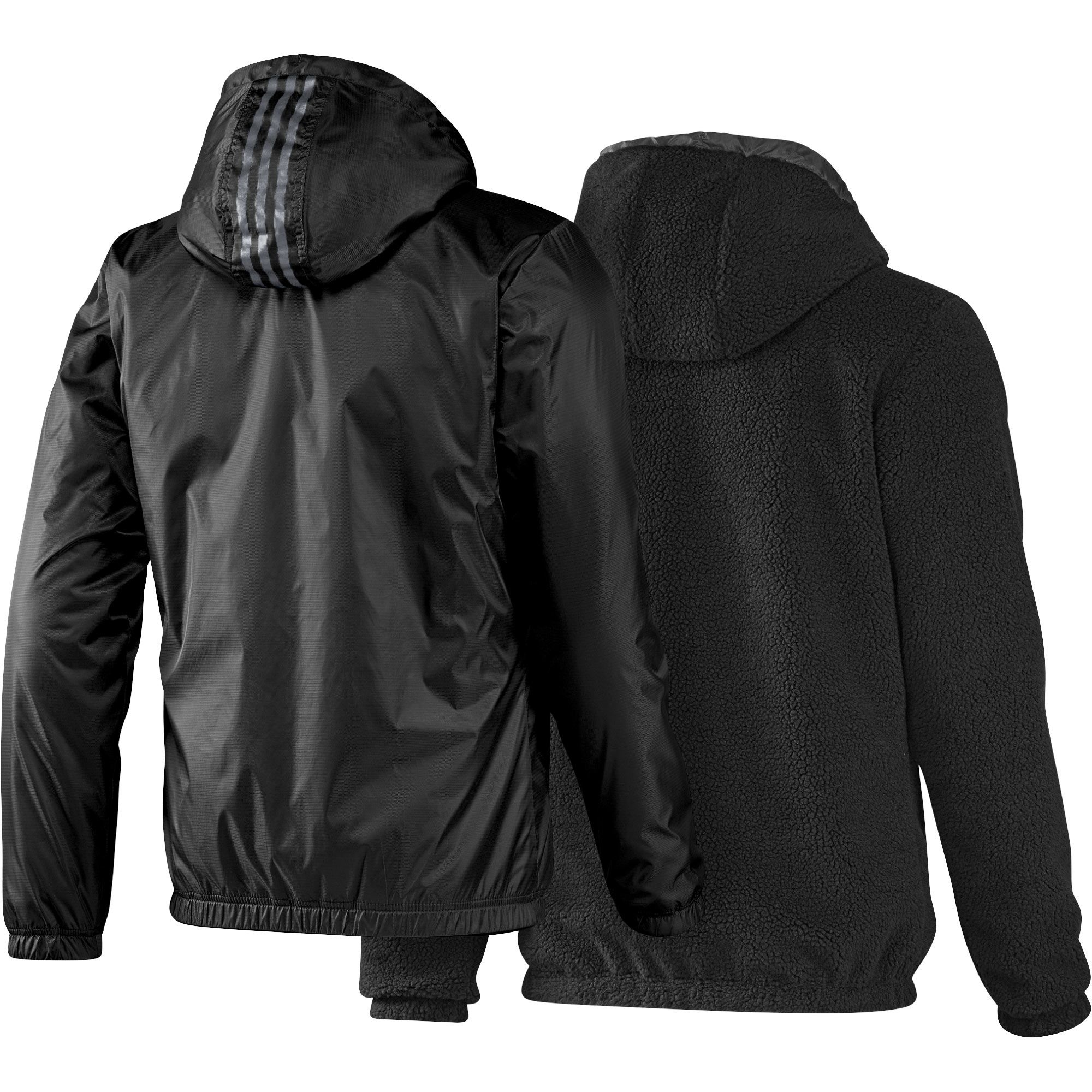 adidas neo reversible sherpa herren windbreaker wende jacke schwarz. Black Bedroom Furniture Sets. Home Design Ideas