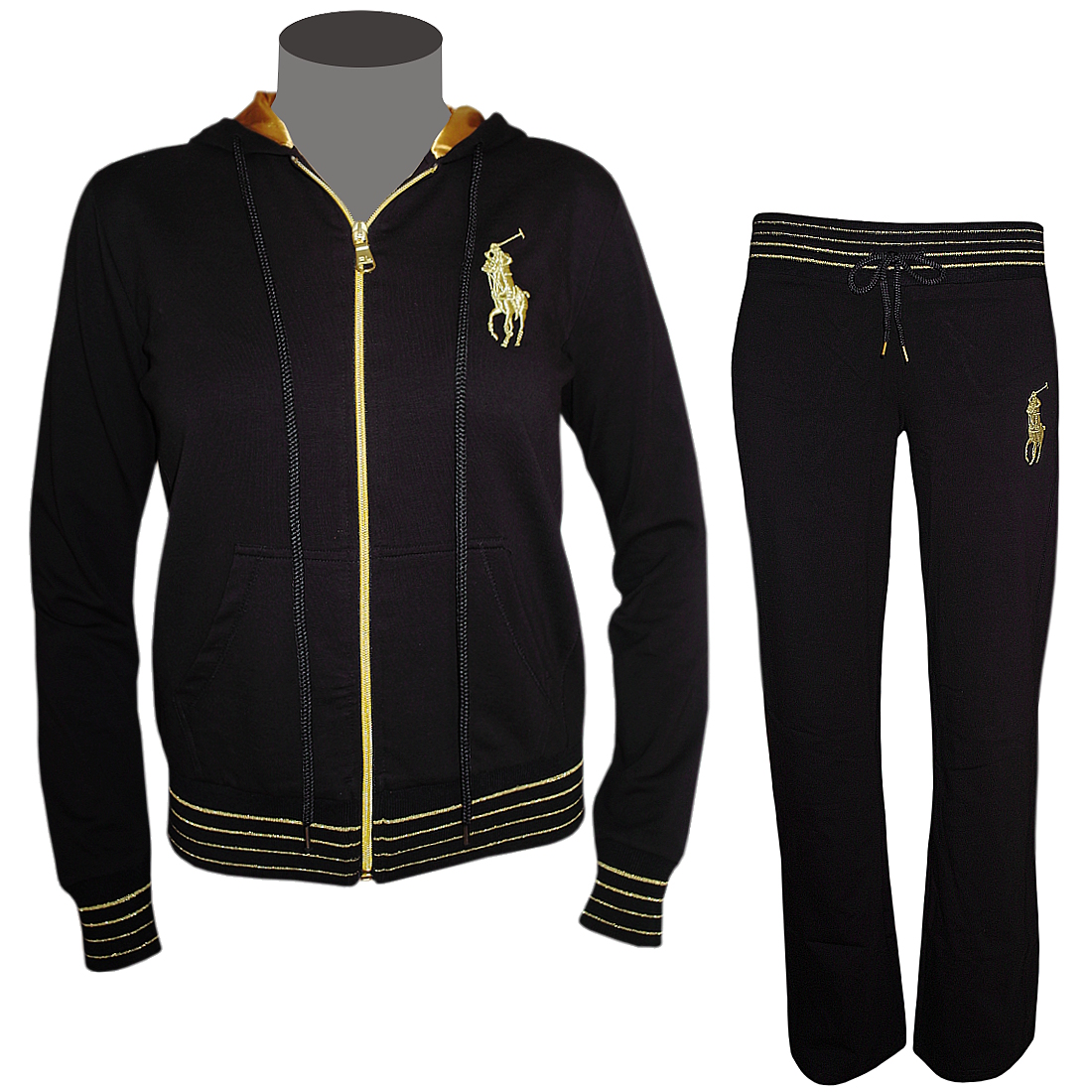 polo ralph lauren damen trainingsanzug schwarz gold jogginganzug ebay. Black Bedroom Furniture Sets. Home Design Ideas