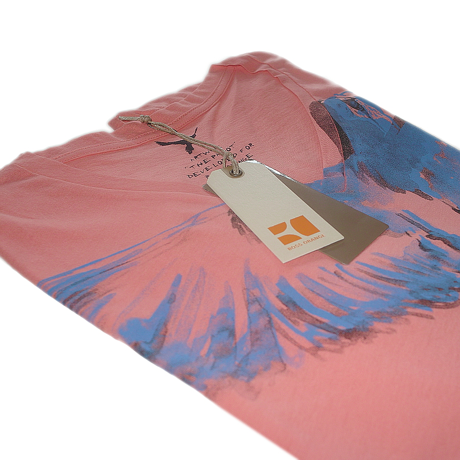 hugo boss orange label t shirt herren v neck texus lachs rosa orange. Black Bedroom Furniture Sets. Home Design Ideas