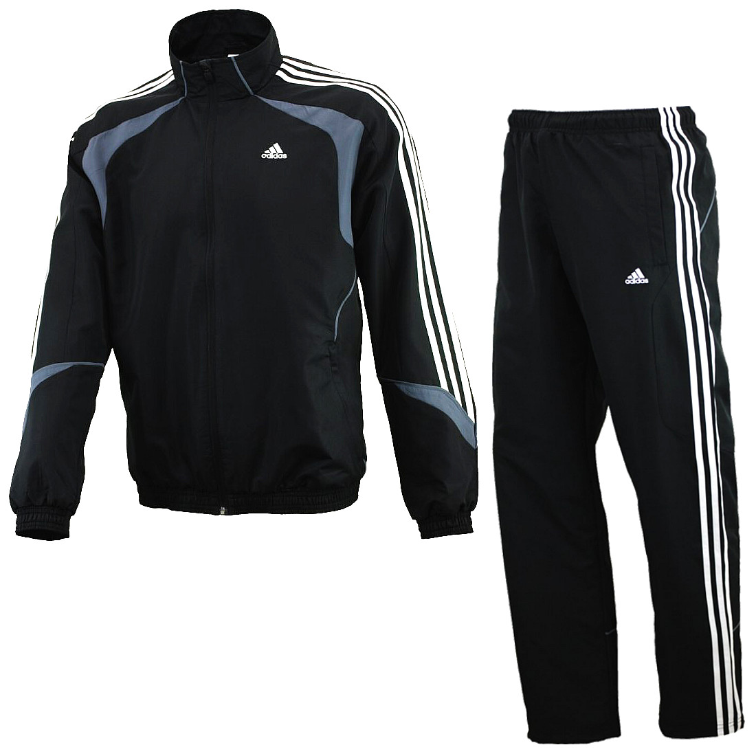 adidas ts basic 3 stripe herren trainingsanzug schwarz. Black Bedroom Furniture Sets. Home Design Ideas
