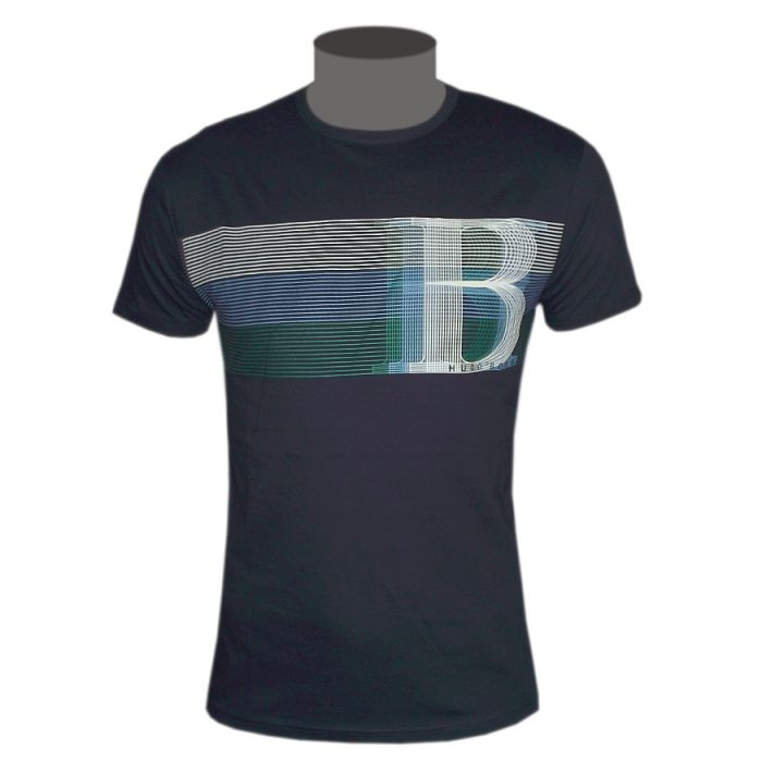 hugo boss green label herren t shirt dunkelblau tee gr m. Black Bedroom Furniture Sets. Home Design Ideas