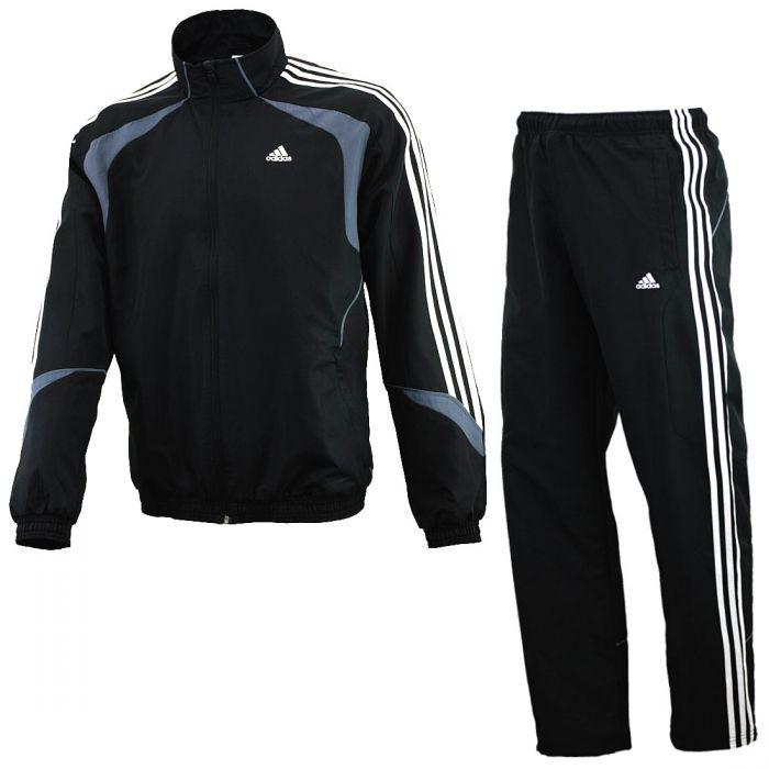 adidas ts basic 3 stripe herren trainingsanzug schwarz. Black Bedroom Furniture Sets. Home Design Ideas