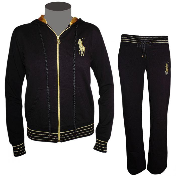 zu polo ralph lauren damen trainingsanzug schwarz gold jogginganzug. Black Bedroom Furniture Sets. Home Design Ideas