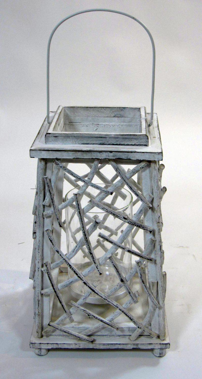 holz laterne laagri antik wei gro ebay. Black Bedroom Furniture Sets. Home Design Ideas