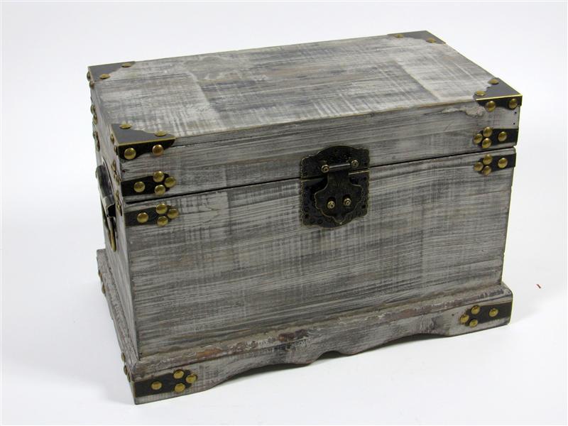 holztruhe truhe schatztruhe grau braun mittel 36 5x20 5x23. Black Bedroom Furniture Sets. Home Design Ideas