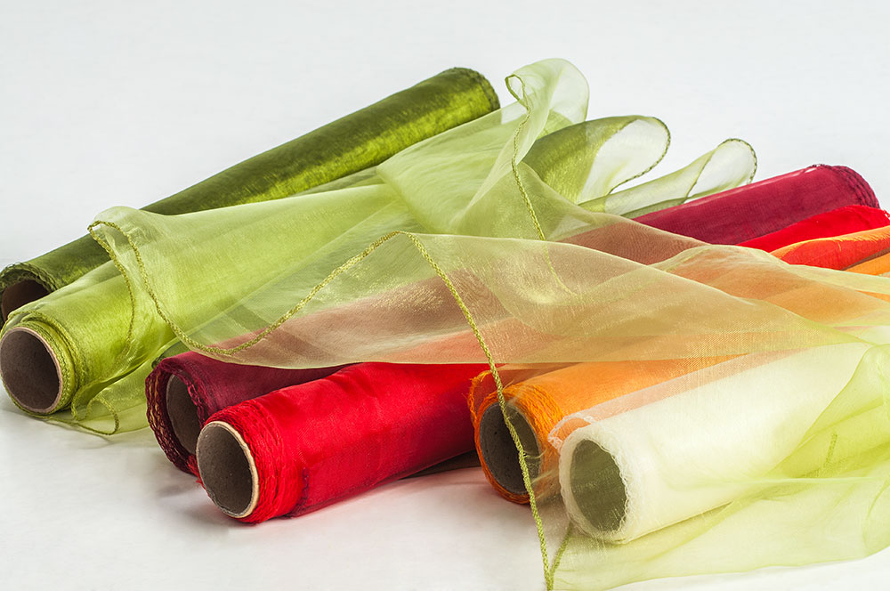 6 organza rollen tischl ufer dekostoff floristik ebay - Organza dekostoff rollen ...