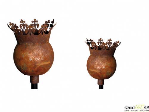 Kugel krone gartenkugel rosenkugel gartenstecker for Rost gartenstecker