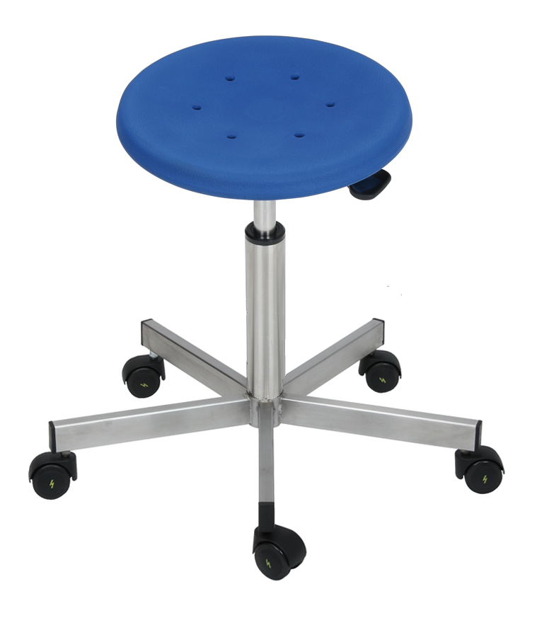drehhocker edelstahl modell 3911 mit rollen sitz blau von lotz ebay. Black Bedroom Furniture Sets. Home Design Ideas