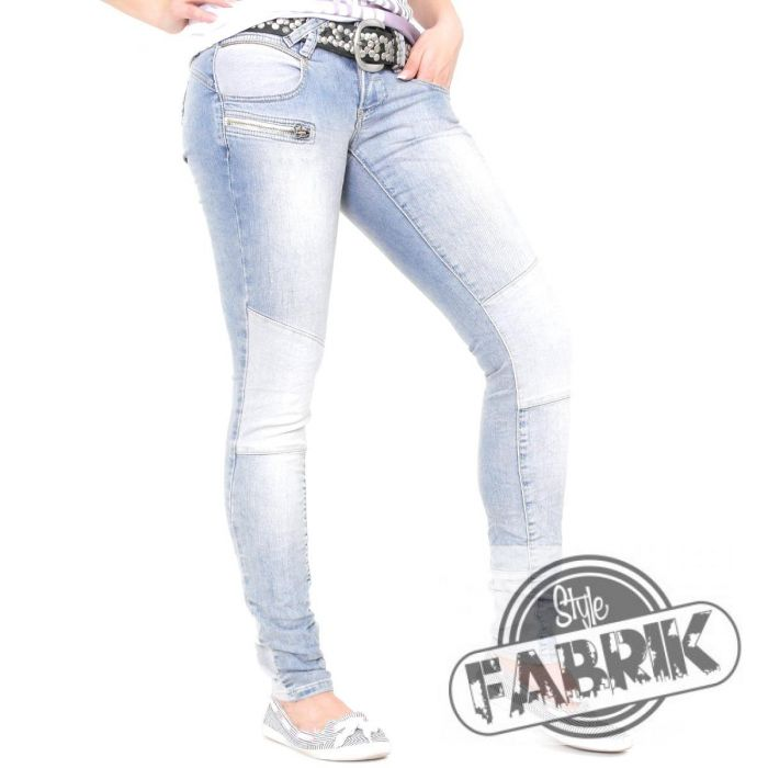 gang damen jeans nena biker stretch skinny used look light patchwork hellblau 13 ebay. Black Bedroom Furniture Sets. Home Design Ideas
