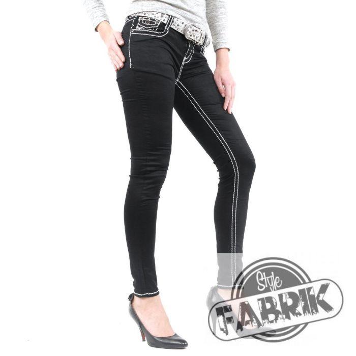 g nstige damen jeans mit wei en n hten schwarz ebay. Black Bedroom Furniture Sets. Home Design Ideas