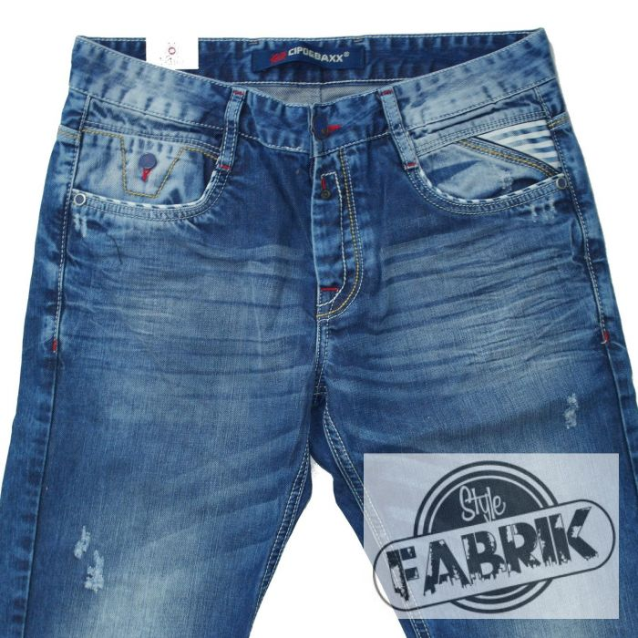 cipo baxx herren jeans straight fit destroyed look blau wei c 1068 ebay. Black Bedroom Furniture Sets. Home Design Ideas