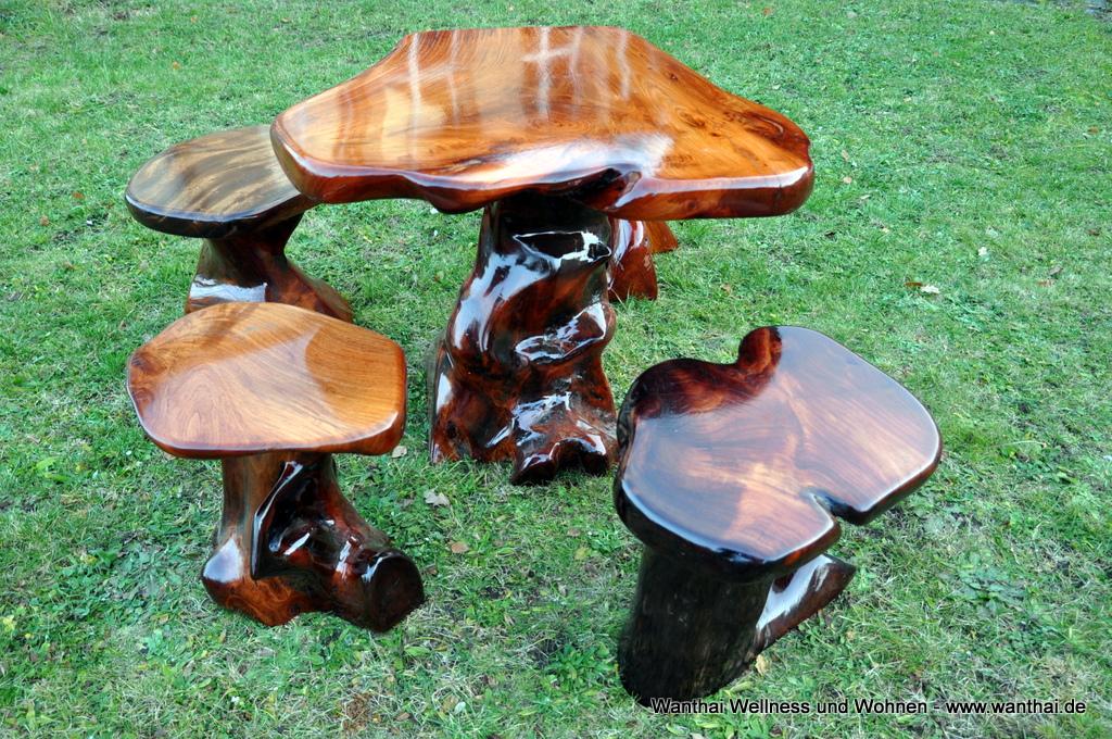 massivholz wurzelholz m bel gartenm bel set pilz c. Black Bedroom Furniture Sets. Home Design Ideas