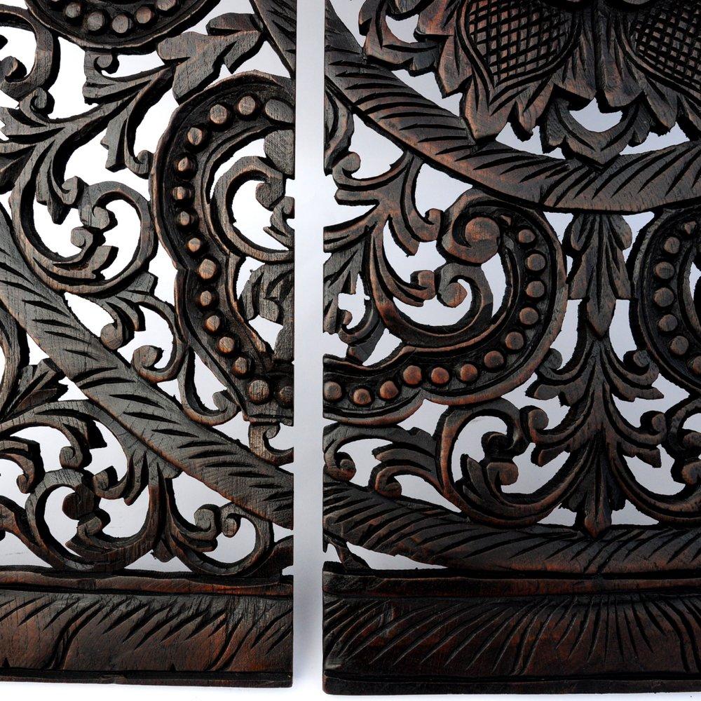 Bilderrahmen Holz Dreiteilig ~   Relief Wandbild Wandbildrelief aus Teak Holz dreiteilig 90x86cm  eBay