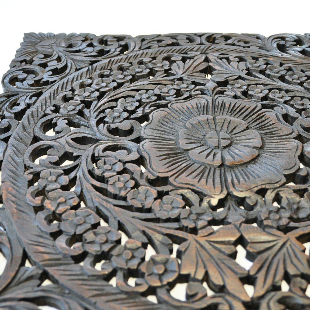 relief wandbild teak holz bl ten eckig dunkel braun. Black Bedroom Furniture Sets. Home Design Ideas