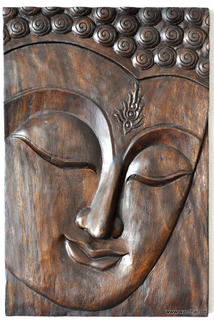 buddha gesicht thail ndischer buddha holz sehr gro wandbild dunkel. Black Bedroom Furniture Sets. Home Design Ideas