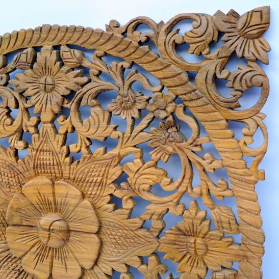 relief wandbild wandbildrelief teak holz bl ten eckig 60cm geschnitzt thai deko ebay. Black Bedroom Furniture Sets. Home Design Ideas