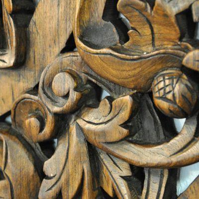 Riesiges relief wandbild teak holz bl ten 90x90cm thai bild design wohnen ebay - Wandbild orientalisch ...