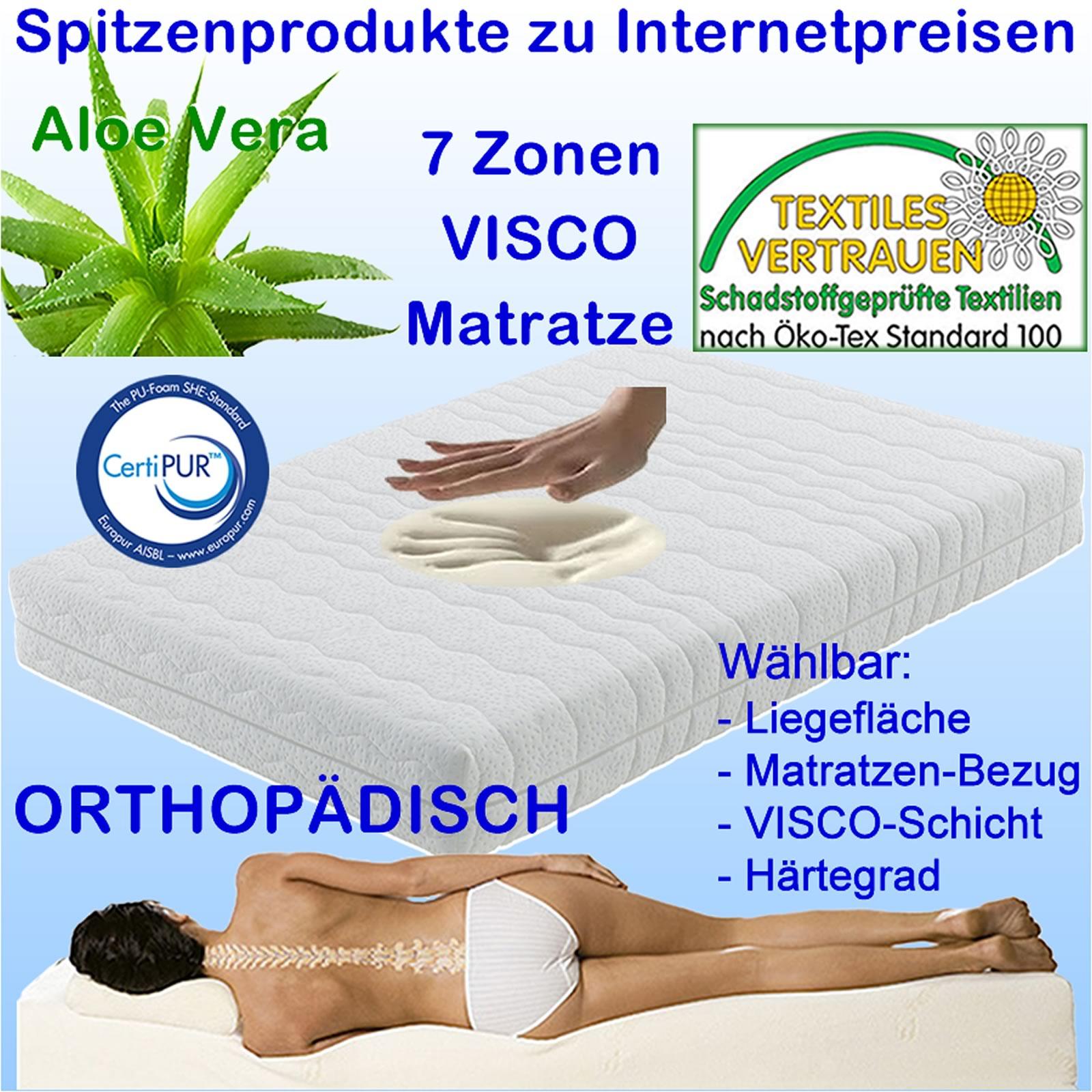 7 zonen premium orthop dische visco kaltschaum matratze auch f r vers lattenrost ebay. Black Bedroom Furniture Sets. Home Design Ideas
