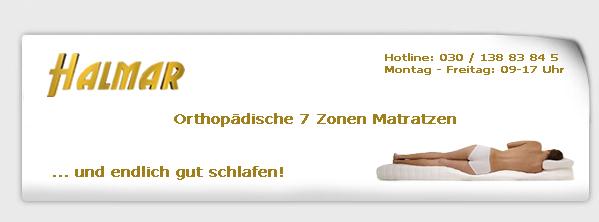halmar orthop dische kaltschaum visco 7 zonen matratze gesamth he ca 20 cm ebay. Black Bedroom Furniture Sets. Home Design Ideas