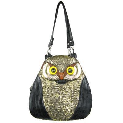 LF-Fashion-Eule-Handtasche-Rucksack-Schwarz