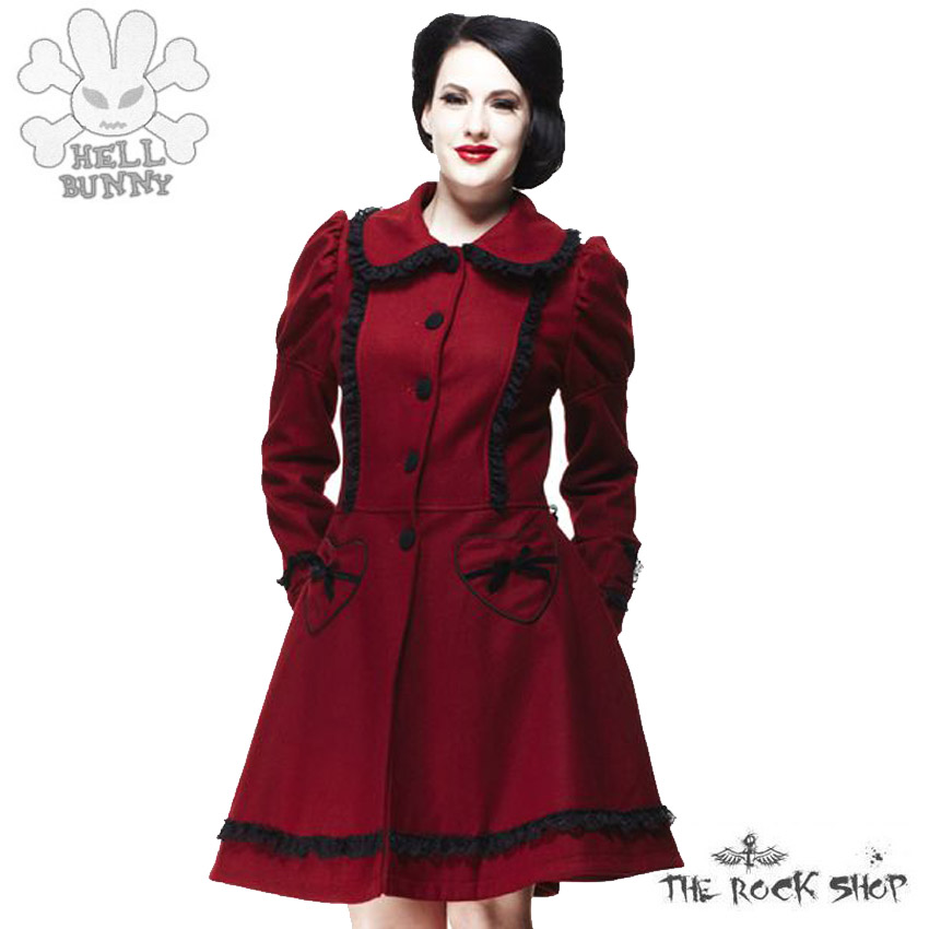 hell bunny courtney coat mantel burgundy rot ebay. Black Bedroom Furniture Sets. Home Design Ideas