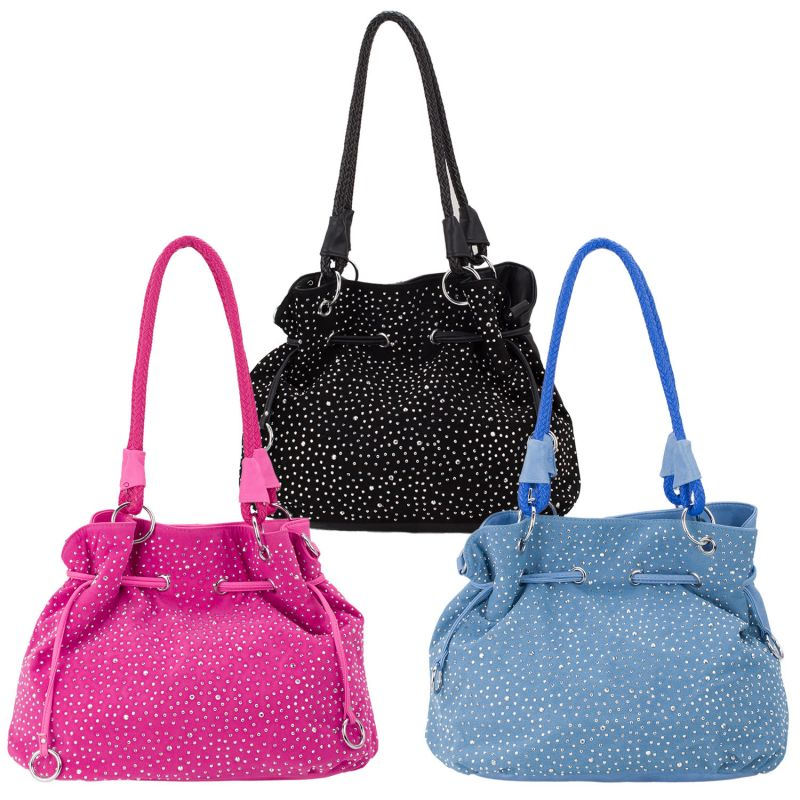 ROSENROT Glitzer Handtasche Tasche Shopper Beutelform