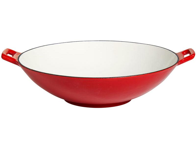 wok aus gusseisen 37 cm rot wei emailliert ebay. Black Bedroom Furniture Sets. Home Design Ideas