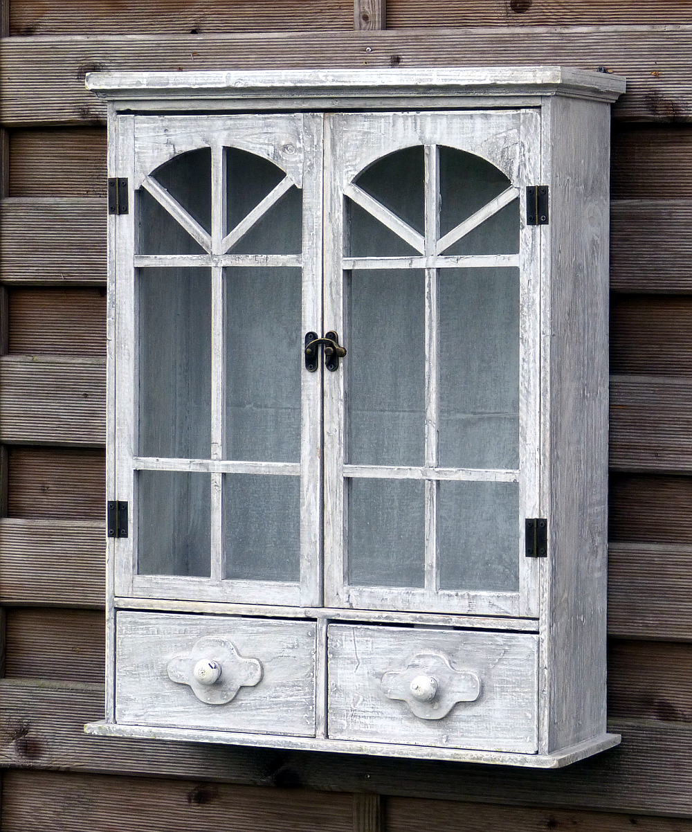 h ngeschrank wandschrank k chenschrank vitrine landhaus shabby chic hellgrau ebay. Black Bedroom Furniture Sets. Home Design Ideas